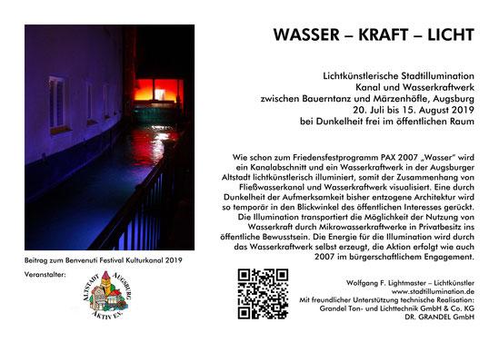Dokumentation Stadtillumination Stadt Augsburg Wasser - Kraft - Licht Kulturkanal Benvenuti Festival 2019 - Wolfgang F. Lightmaster