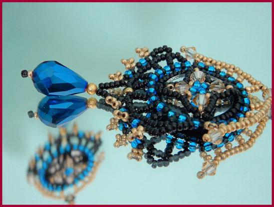 Mahnoor Perlen-Ohrringe schwarz/gold/petrol im Oriental-Stil mit eingearbeitetem Spiegel