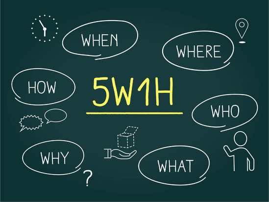 5W1H(WHO,WHEN,WHERE,WHY,WHAT,HOW)