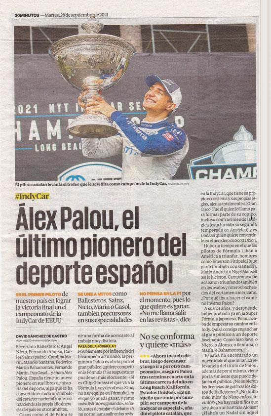Alex Palou campeón de de la INDYCAR 2021