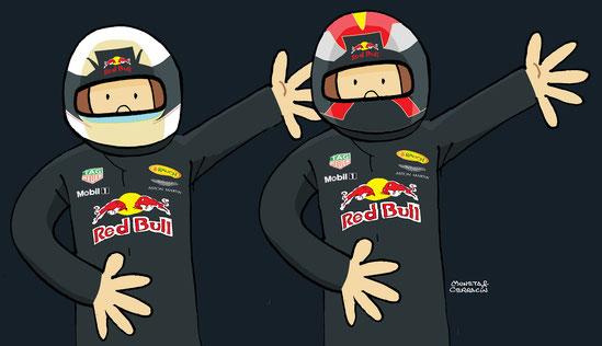 Daniel Ricciardo & Max Verstappen by Muneta & Cerracín