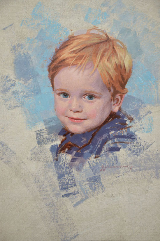 Portrait in oil on linen of boy by Peter Schaumann, Philadelphia Portrait Artist, Portrait Artist Philadelphia