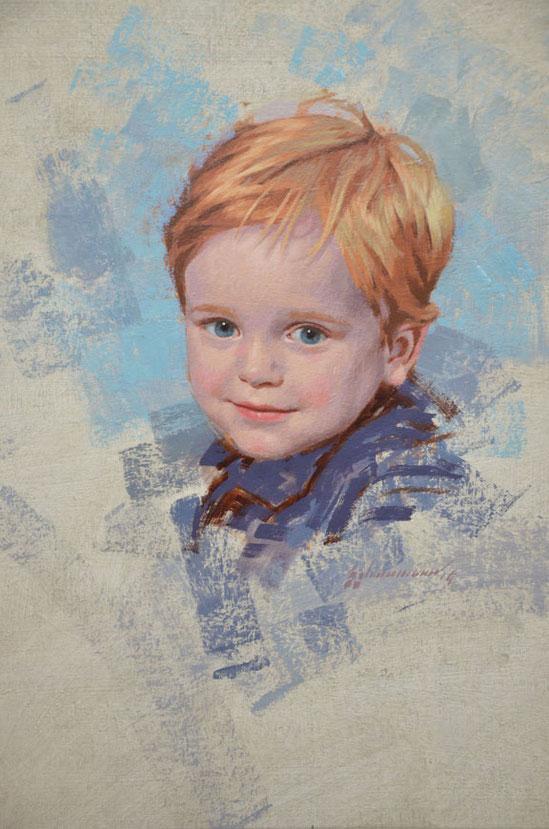 Portrait in oil on linen of boy by Peter Schaumann, Philadelphia Portrait Artist, Portrait Artist Philadelphia