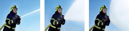 Efectos de una lanza de bombero: chorro sólido, cono de ataque y cortina de protección
