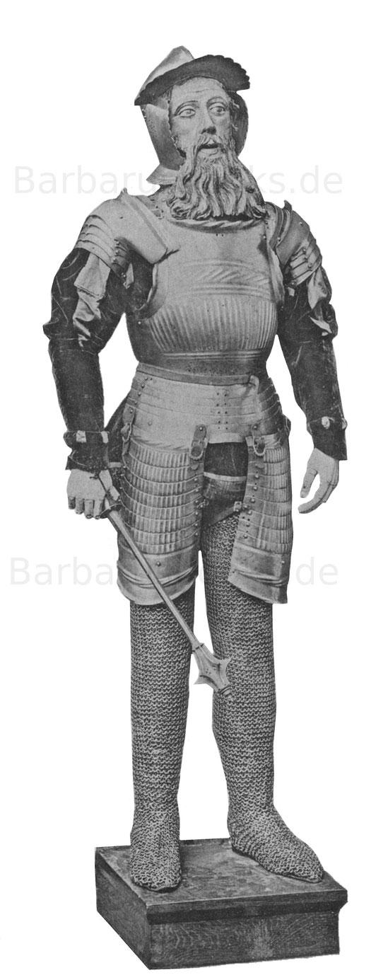 Kannelierte Landsknechtsrüstung der Maximilianszeit mit Burgunderhaube (1800 g.) und Streitkolben. Die Ringhosen nicht dazu gehörig. Aus Niederösterreich.