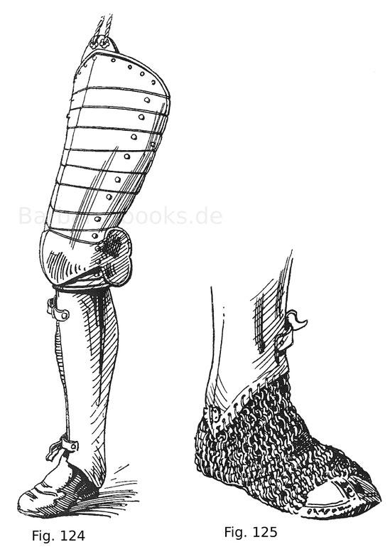Beinzeug mit geschobenem Diechling und halber Beinschiene. Um 1560. Fig. 125. Unterer Teil einer Beinröhre in Verbindung mit einem Panzerschuh.