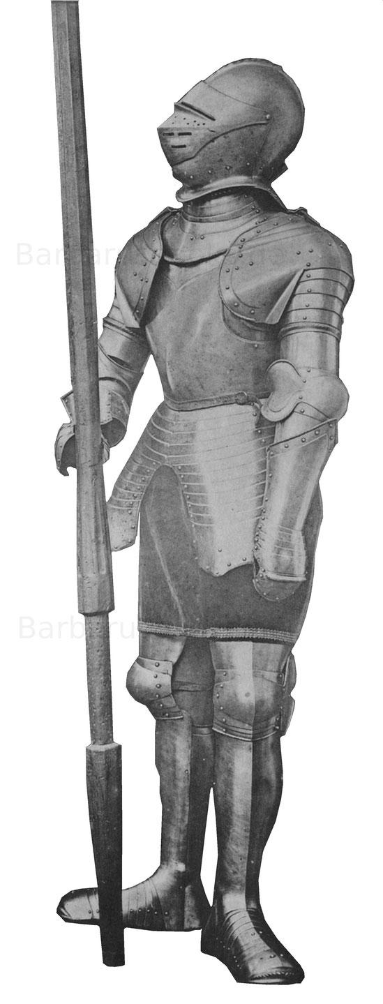 Schwere Rüstung mit Visierhelm