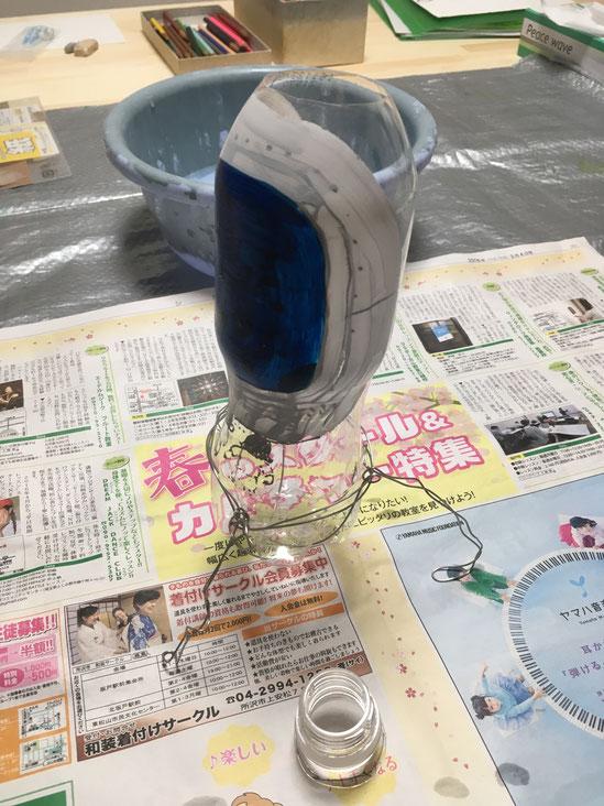 粘土工作 ペットボトルと紙粘土