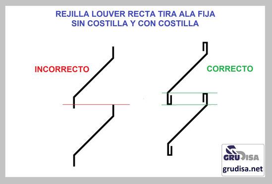 REJILLA LOUVER TIRA RECTA INSTALACIÓN CORRECTA E INCORRECTA