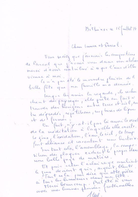 La lettre de René Dissard le 15/08/14