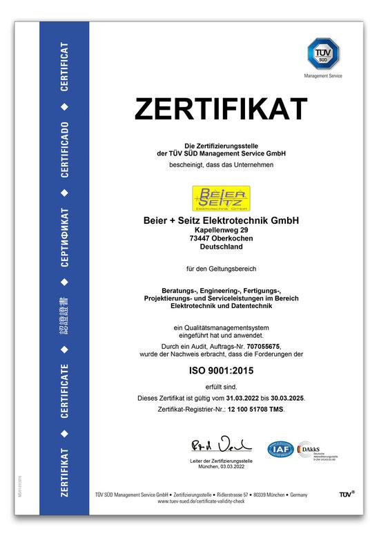 Beier + Seitz: Zertifiziert nach ISO 9001:2015