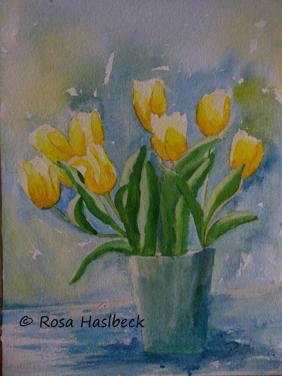 aquarell, blumenstrauß, tulpenstrauß, blumen, tulpen, gelb, blau, malen, bild, kunst,aquarell , kunstkaufen, malen, , malerei, blumenmalerei, blumen, bilder, , kunst kaufen, bild kaufen