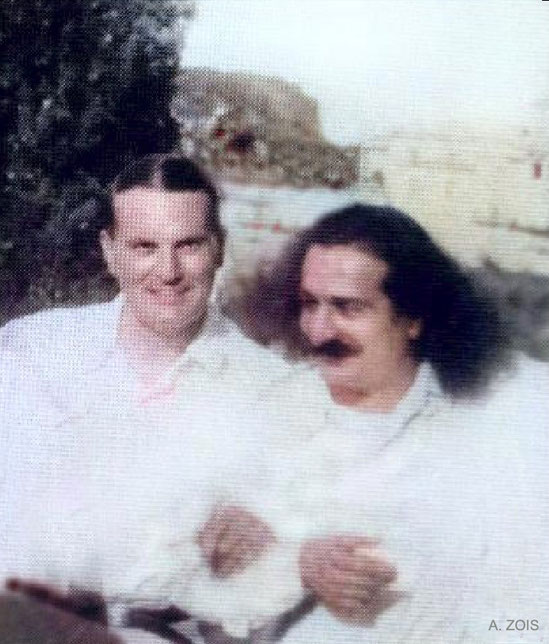 June-July 1933 Portofino, Italy : Meher Baba & Herbert Davy relaxing.  Image cropped & colourized by A. Zois .