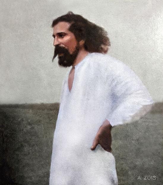 "41.  1930 "" Meher Baba with beard on Meherabad Hill, India."