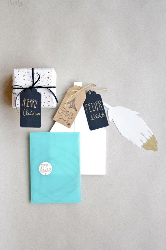 dieartigeBLOG - Last Minute DIY Weihnachten,Geschenk,  Drahtgebaumsel, Papierstern, Feder