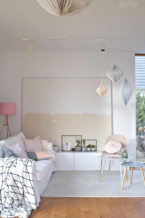 dieartigeBLOG - Ombre-Leinwand in Jute natur und Weiß, GRID-Decke, Papierdekoration, Frühlingsdeko mit Pastell, Rosè, Kupfer