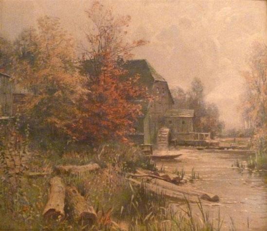 Straupitzer Buschmühle, Gemälde von Walter Moras, um 1910.