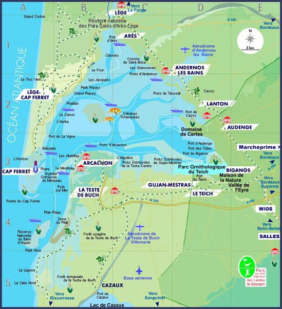 Plan du Bassin d'Arcachon (Gironde)