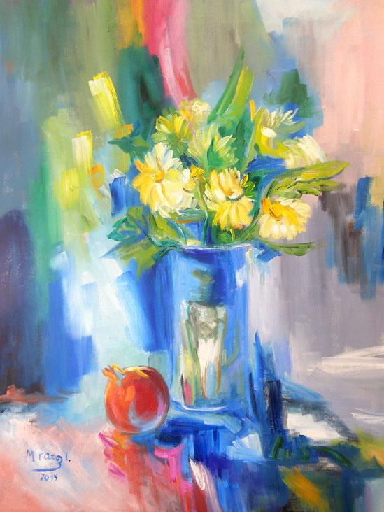 Pincelada floral - Óleo - 73x60