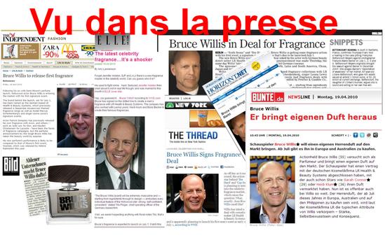 Bruce Willis fait partie de la famille LR avec sa série de parfums et de soins appréciés. VU dans la presse internationale.  Elle, Bild, etc