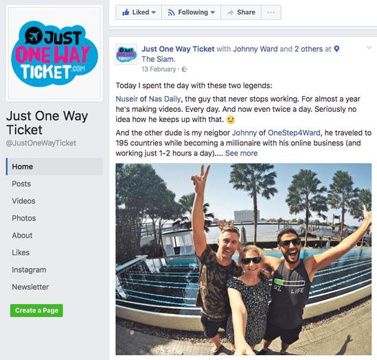 Page Facebook de Just One Way Ticket