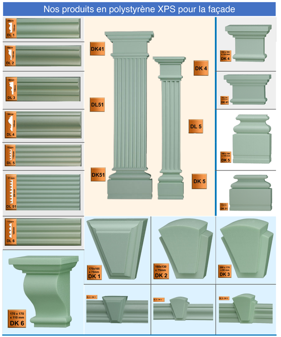 corniches extérieures en polystyrène XPS pour la façade