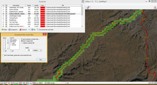 SatMap 2.7.3 : Cache entlang eines Tracks, visuelle Abdeckung des gespeicherten Bereiches aktiviert.