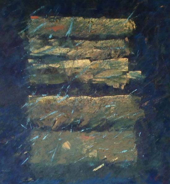 Das Lied von der Erde - gemagerte Ölfarbe auf Leinwand - 120 x 110