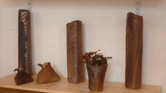 Vases droits de différentes grandeur - Grès cuisson bois - Sylvie Ruiz Foucher