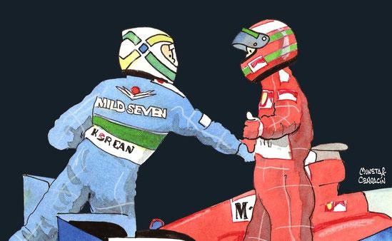 Giancarlo Fisichella & Eddie Irvine by Muneta & Cerracín - Giancarlo Fisichella & Eddie Irvine en el LVIº Grand Prix Automobile de Monaco
