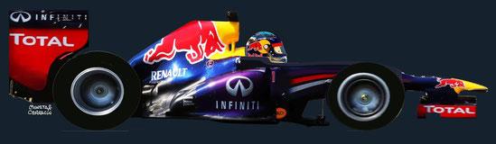 Sebastian Vettel by Muneta & Cerracín - Sebastian Vettel del Infiniti Red Bull Racing a los mandos de un Red Bull RB10 - Renault Energy