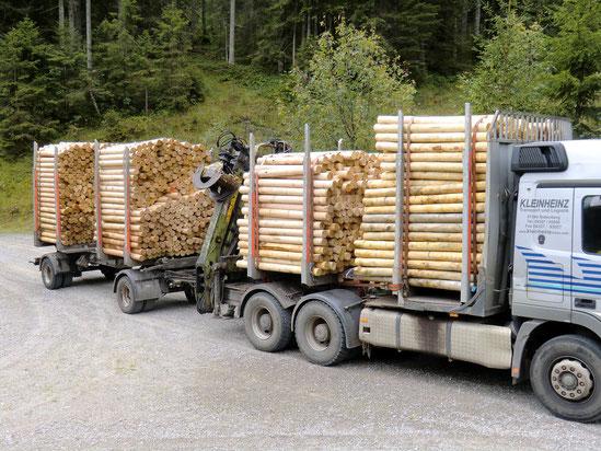 Lieferung von Holz für die Lawinenverbauung