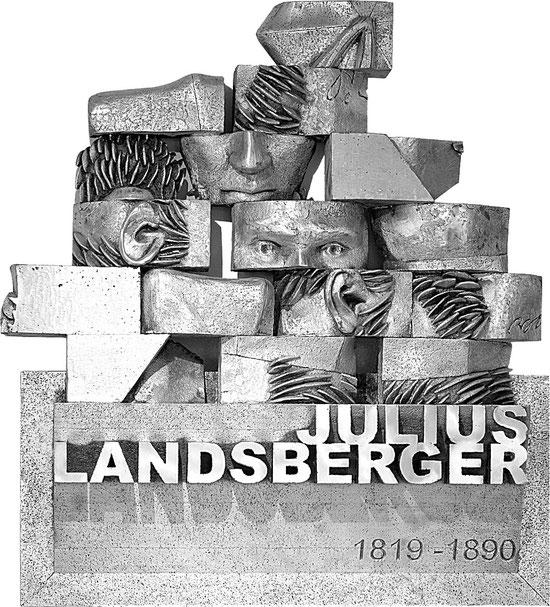Im Auftrag des FÖRDERVEREINS LIBERALE SYNAGOGE geschaffen: Das Julius-Landesberger-Relief des Darmstädter Bildhauers Gerhard Roese / Foto: Förderverein Liberale Synagoge