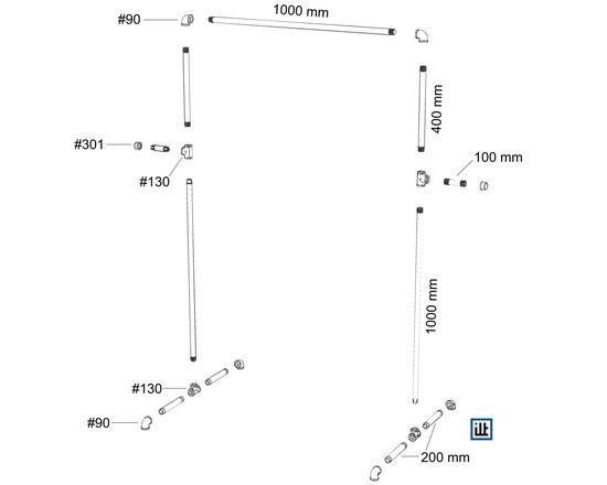Bauanleitung Rohrmöbel, Kleiderständer No.1, Explosionszeichnung
