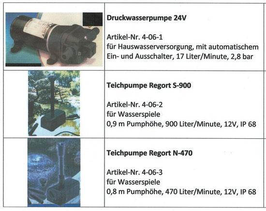 Druckwasserpumpe 24 Volt, Teichpumpe Regort S-900, Teichpumpe Regort N-470