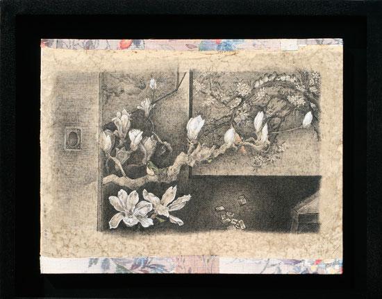 「抜け目白」 雁皮紙にペン、テンペラ、紬 F6