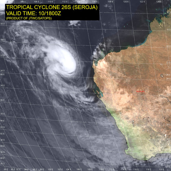 Satellite image of Tropical Cyclone Seroja off the Western Australia coast, 11/04/2021, Image from JTWC.