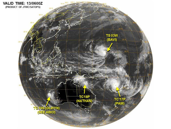 Tropical Cyclones in the Australasian region. From JTWC