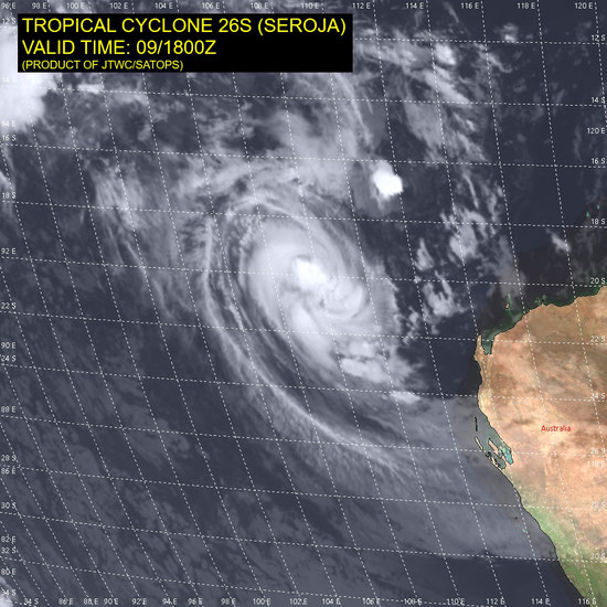 Satellite image of Tropical Cyclone Seroja off the Western Australia coast, 10/04/2021, Image from JTWC.