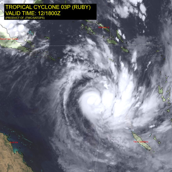 Satellite image of Tropical Cyclone Odette off the Western Australia coast, 10/04/2021, Image from JTWC.