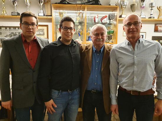 v.l.n.r.: Erich Unruh (2. Vorsitzender), Daniel Schroth (Kassier), Alfred Gerwig  (1. Vorsitzender) und Daniel Hummel (Geschäftsführer)