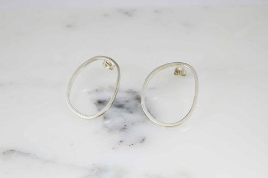 créoles organiques en argent  / earrings in sterling silver