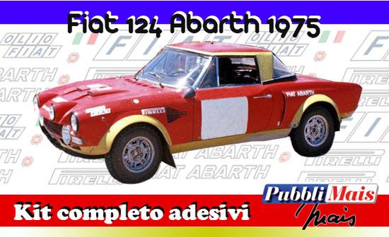 fiat 124 abarth rally 1800 prezzo grafica kit completo adesivi sponsor originali pirelli shop pubblimais torino 1975 macaluso