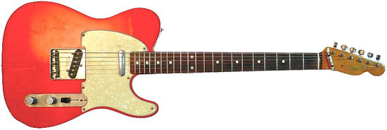 Fender Telecaster Custom '62 Reissue in candy apple red (Japan, ca. 1989 oder 1991), white pearl-pickguard, Rockinger Potiblech (das Volumenpoti ist dadurch etwas weiter vom Dreiwegeschalter entfernt).