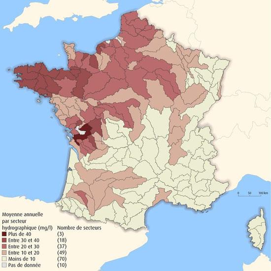 Moyenne annuelle du taux de nitrate dans les eaux de surface. Source : http://lanvert.hautetfort.com/tag/nitrates