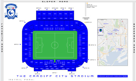 Cardiff City Stadium Sitzplan, Quelle: www.thecardiffcitystadium.co.uk