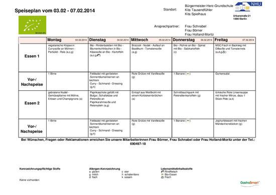 Speiseplan 03.02. - 07.02.2014