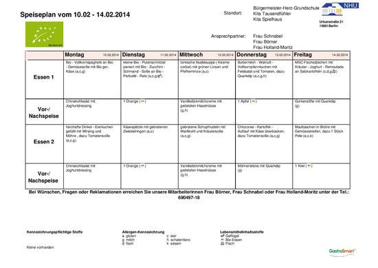 Speiseplan 10.02. - 14.02.2014