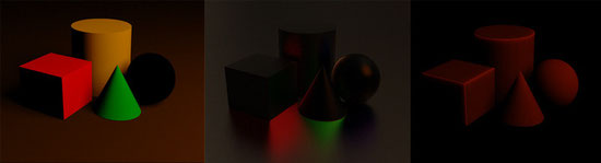 Rendering split into diffuse, specular and subsurface scattering