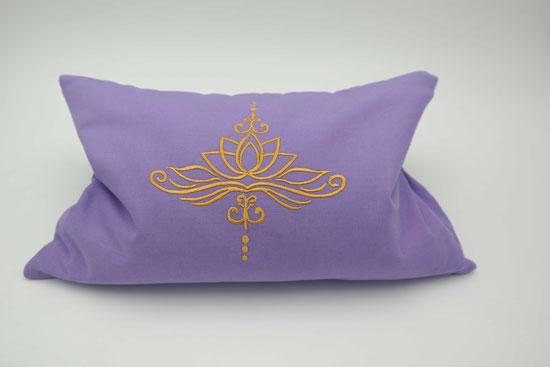 Kräuterkissen mit Lotusblüte, Kissenbezug Lotus, Biokissen, Flieder Lila